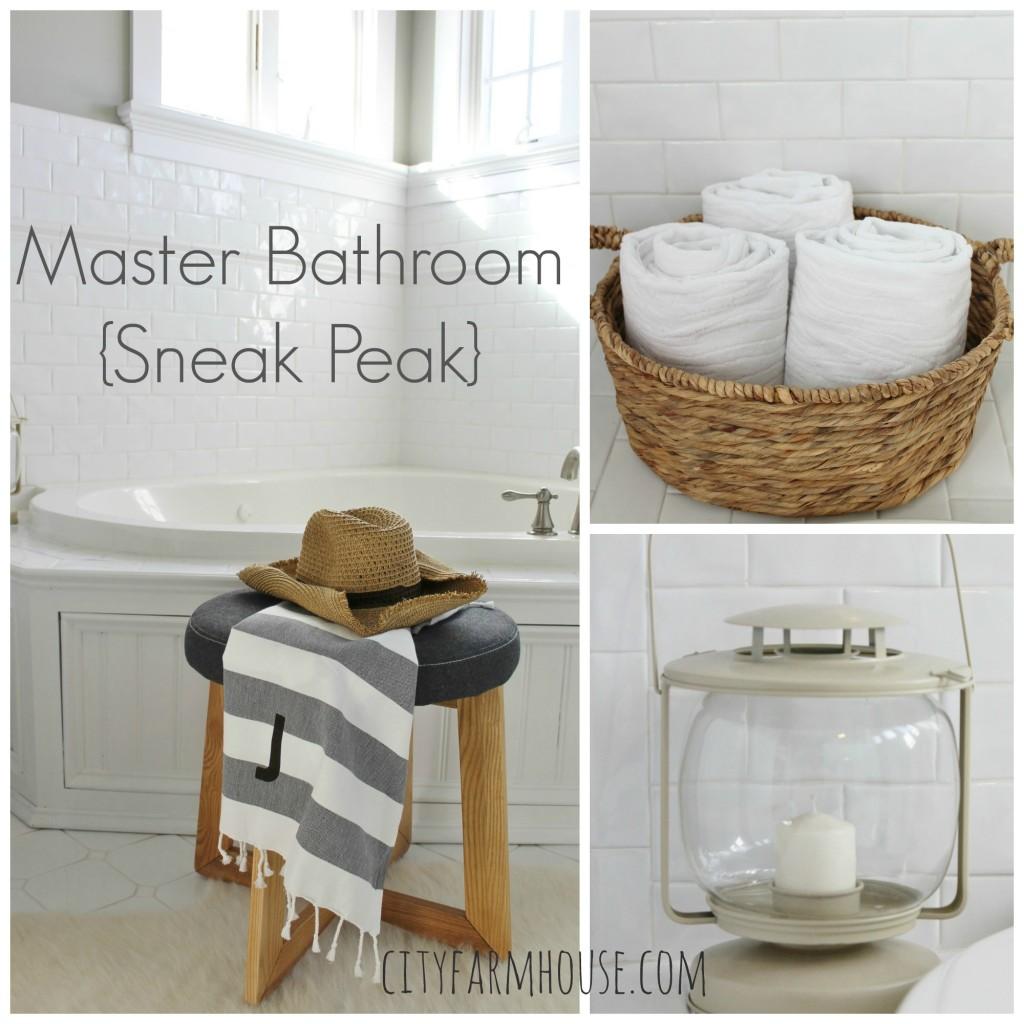 White Master Bathroom Sneak Peak-City Farmhouse