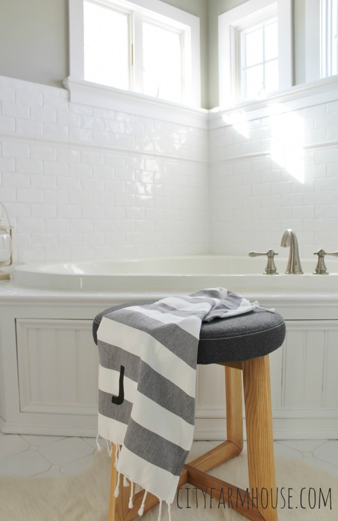 White Subway Tile & Classic Small Windows, Wall Color Olympic- Sprig of Ivy City Farmhouse