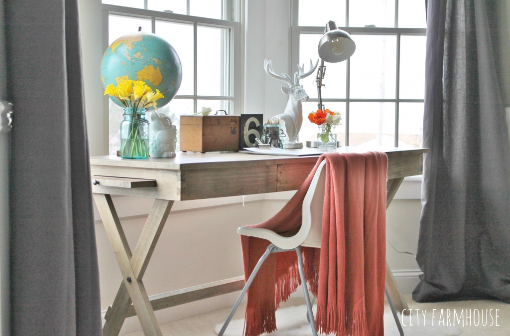 City Farmhouse getting the Look for Less Master Bedroom Office Area Makeover