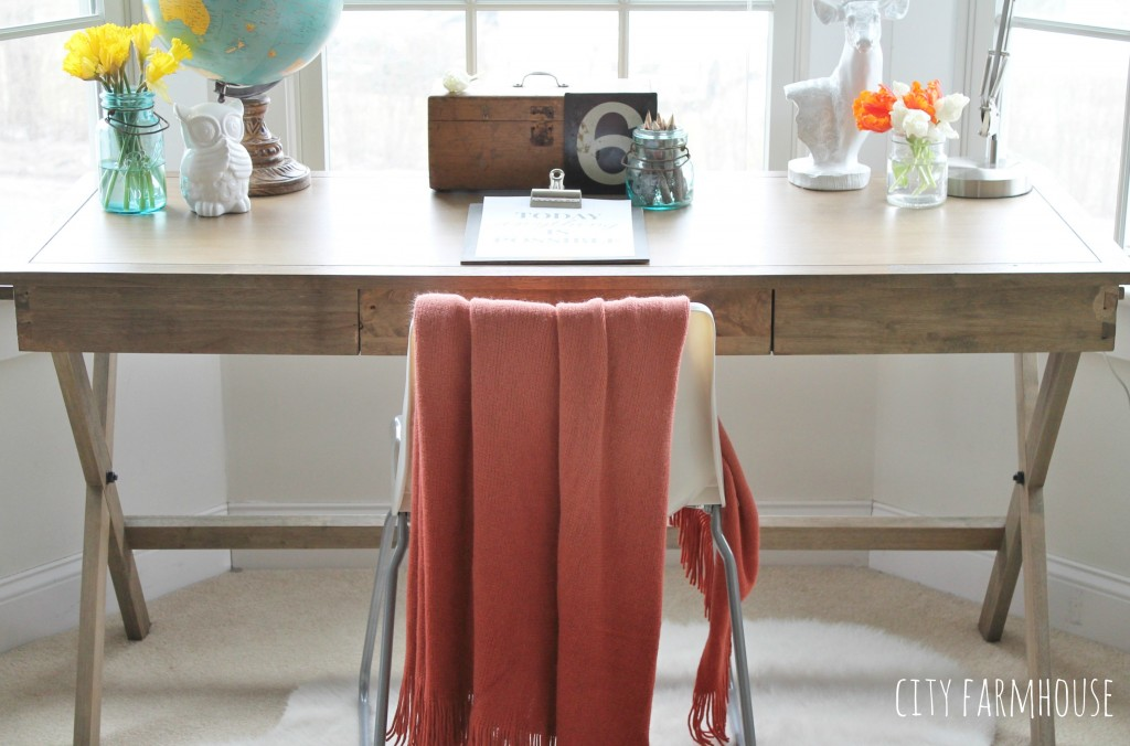 City Farmhouse getting the Look for Less Master Bedroom Office Area Makeover {Chair-Ikea}