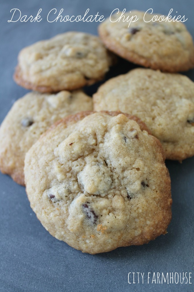 Dark Chocolate Chip Cookie Recipe for Ice Cream Cookie Snadwiches-City Farmhouse