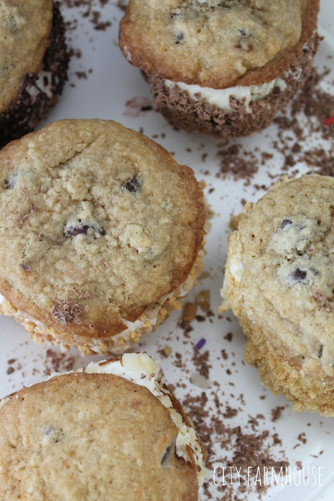 Ice Cream Cookie Sandwiches  Easy & fun, pick your ice cream & toppings {City Farmhouse}