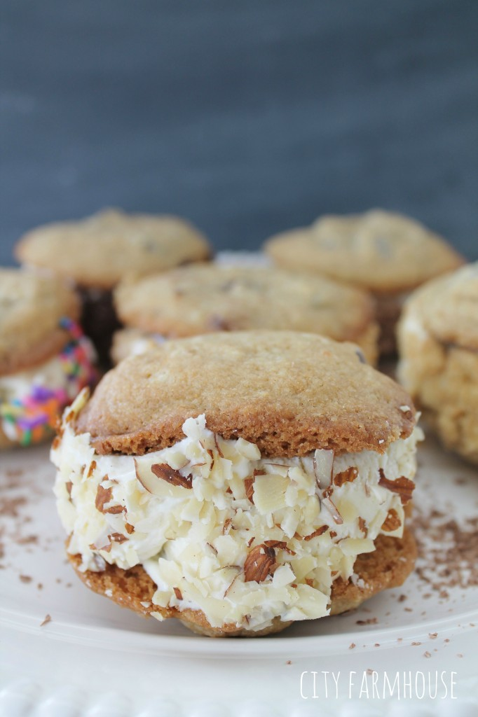 Ice Cream Cookie Sandwiches  Easy & fun, pick your ice cream & toppings {perfect for Valentines Day or Birthday Parties}