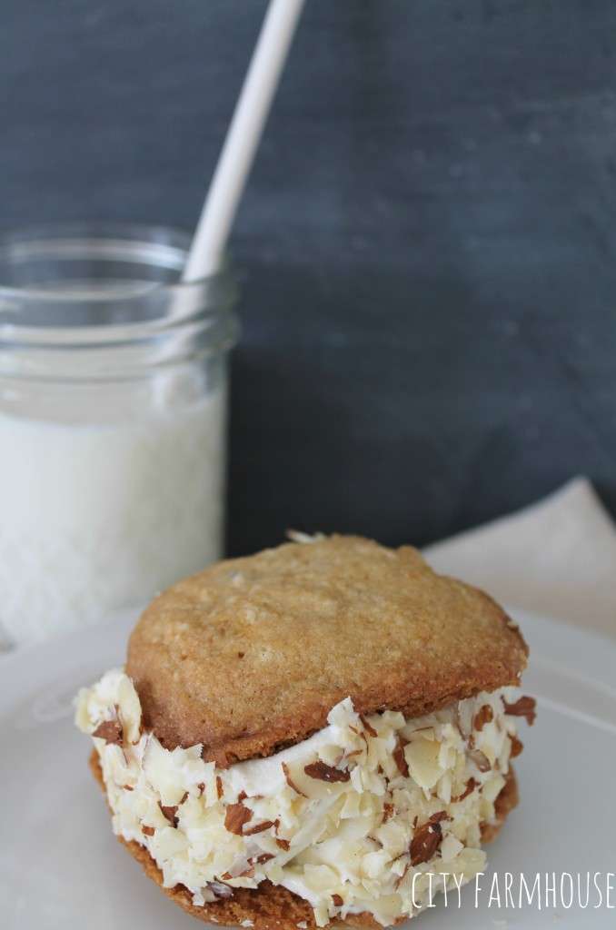 Ice Cream Cookie Sandwiches  With Almond Topping