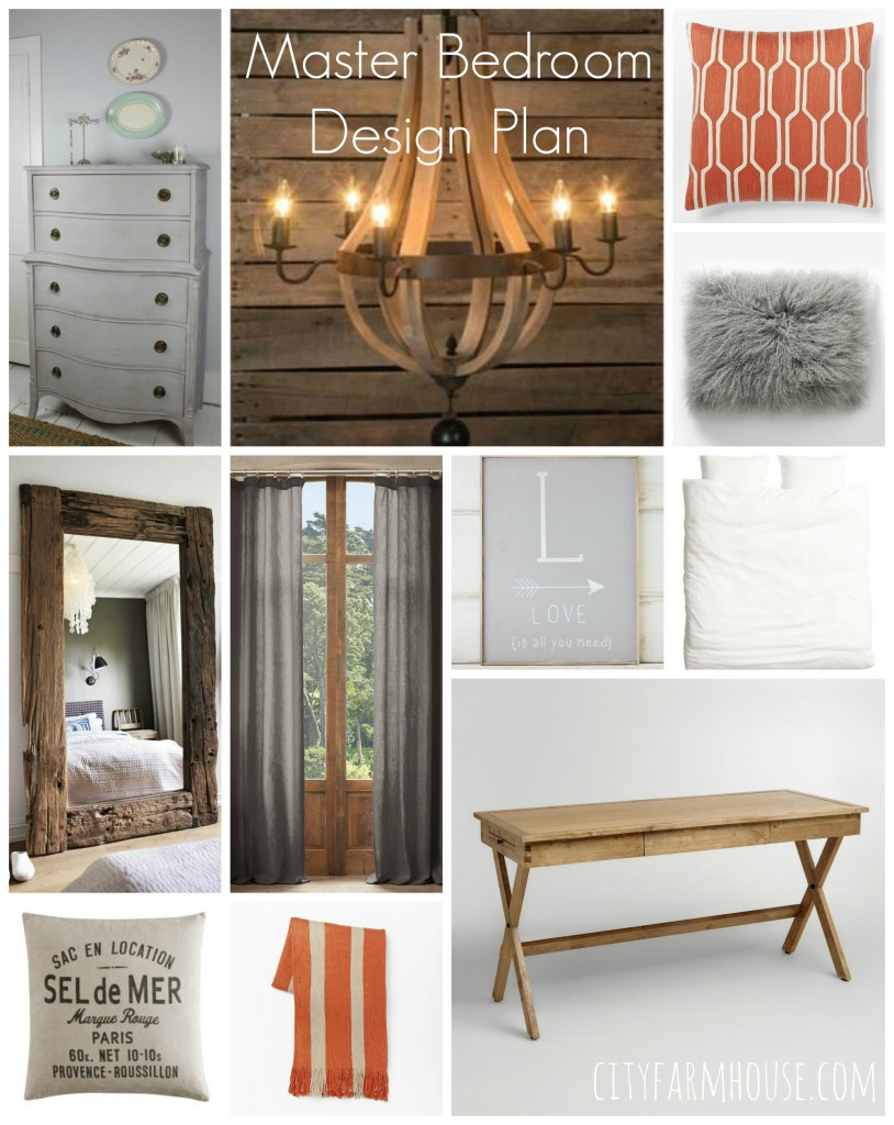 Master Bedroom Design Plan Neutral With touches of Persimmon-City Farmhouse Feature