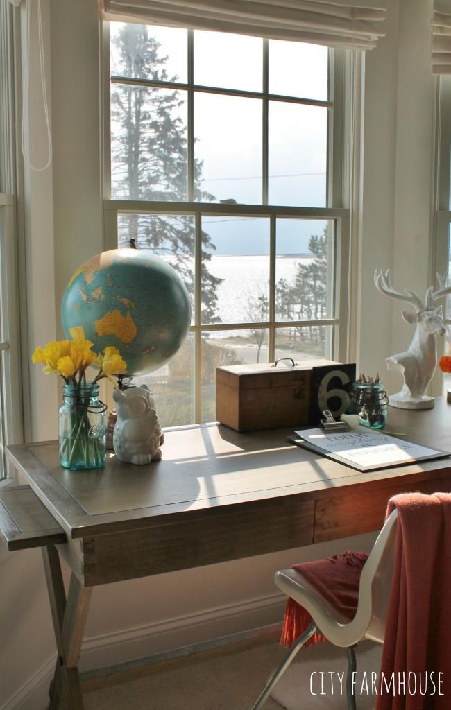 Master Bedroom Office Overlooking Bay Functional & Pretty