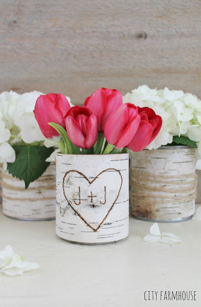 DIY Birch Flower Vases- Rustic Table Ideas for Spring & Summer