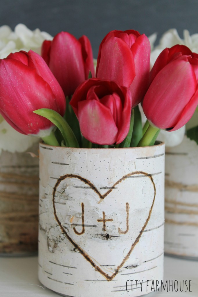 DIY Birch Flower Vases-Wood Burning Pen & Heart Etching City Farmhouse