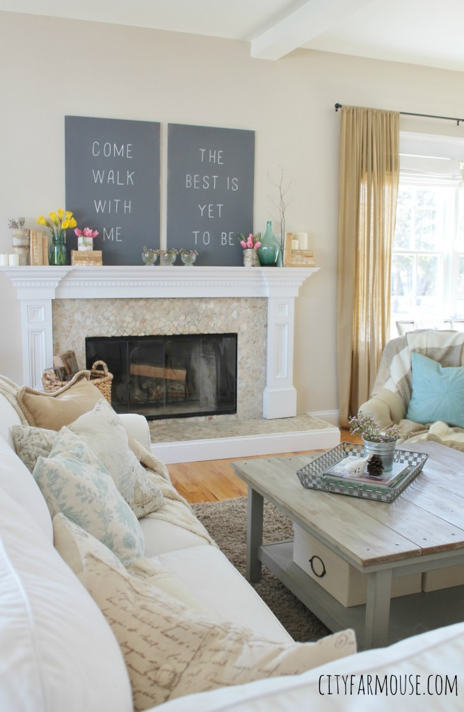 Seasons of Home-Easy Spring Decorating Ideas {City Farmhouse} Mantle Decorated With Chalkboard Sign & Flowers