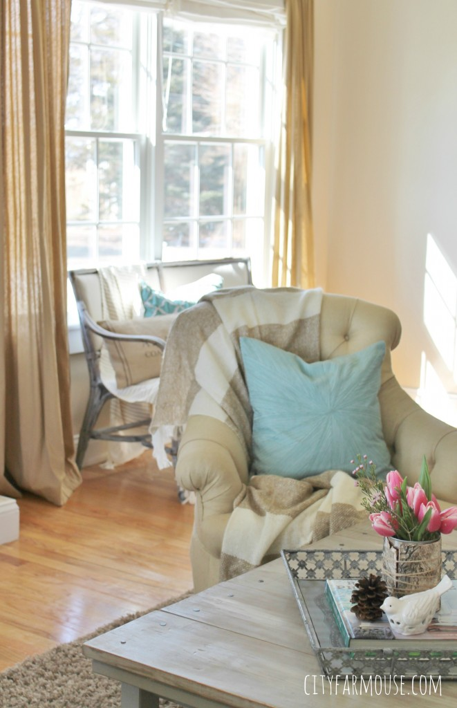 Seasons of Home-Easy Spring Decorating Ideas {City Farmhouse} Pillows from West Elm & Pottery Barn