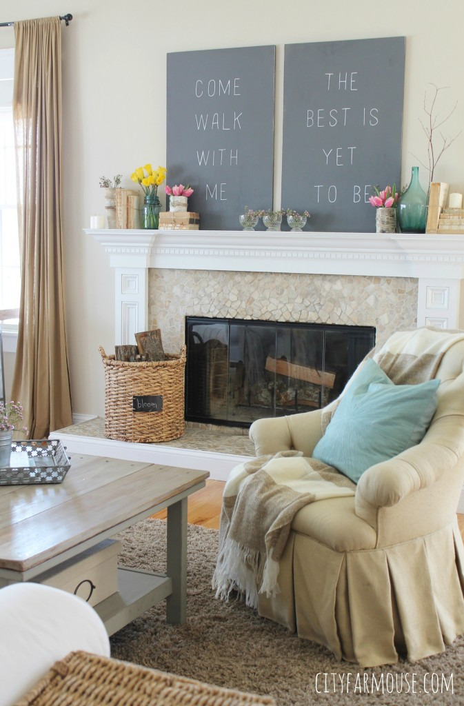 Seasons of Home-Easy Spring Decorating Ideas {City Farmhouse} add pillows for a pop of color