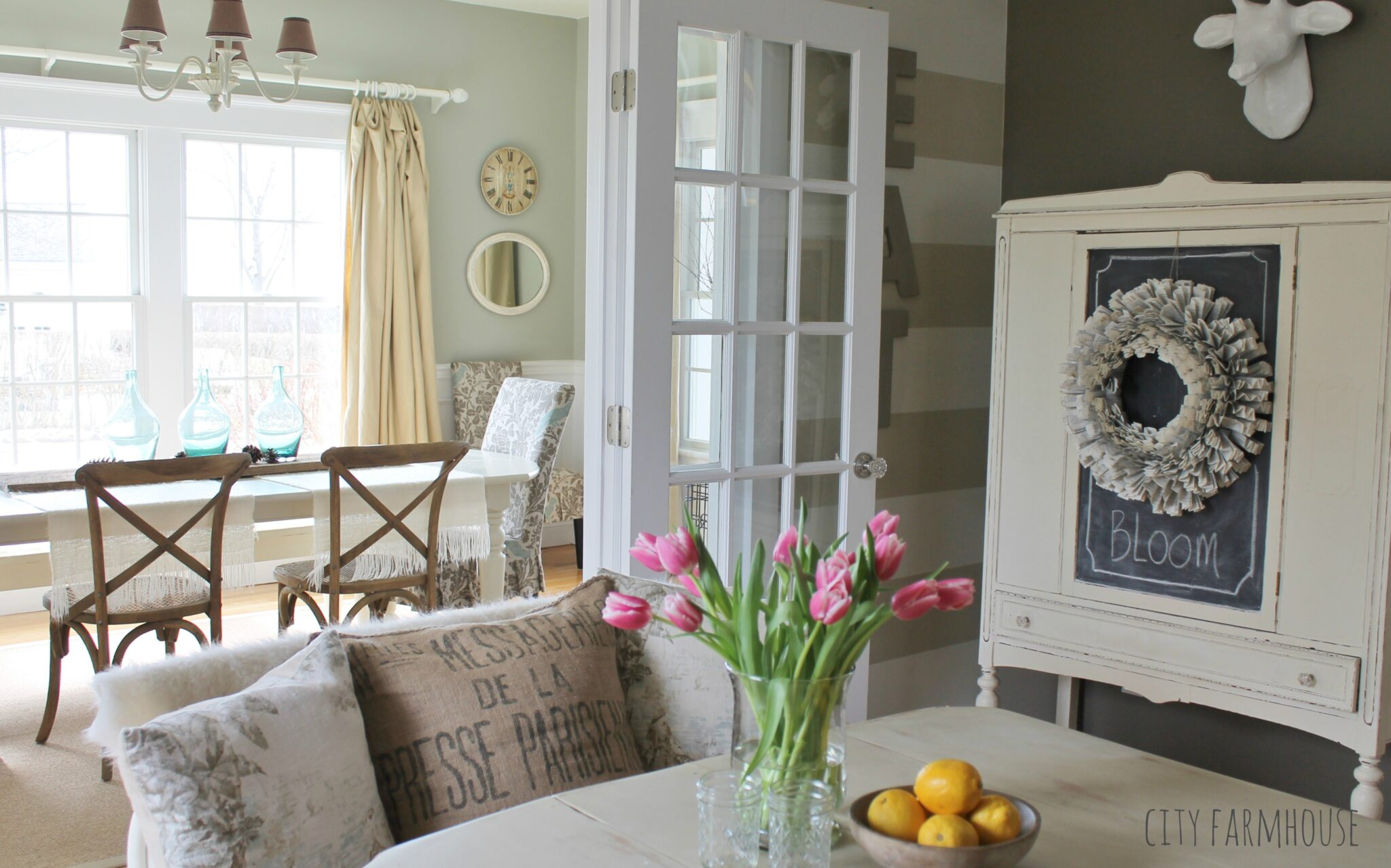 Soft Neutral Color Palette Dining Room Eat In Nook City Farmhouse
