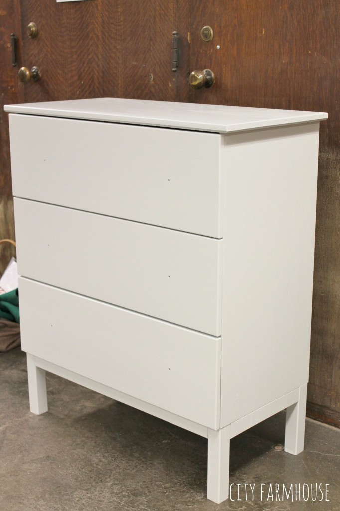 Better Homes & Gardens Makeover Madness Final Four- IKEA Hack {Tarva Dresser} Color is Benjamin Moore Wickham Gray