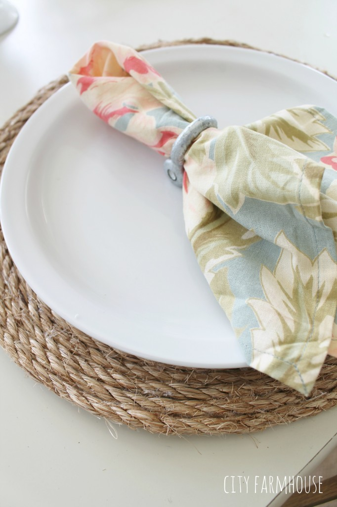 Pottery Barn Inspired Round Jute Placemats & Loop Pulls for Napkin Rings {City Farmhouse}