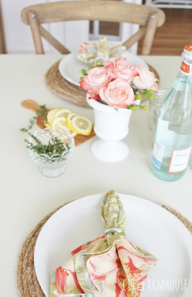 Pottery Barn Inspired Round Jute Placemats  & Touches of Summer