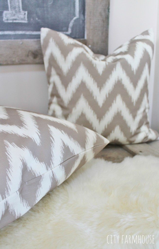 Stairway Nook Makeover Using Chevron Spoonflower Fabric-Adds Pattern & Texture to Small Space