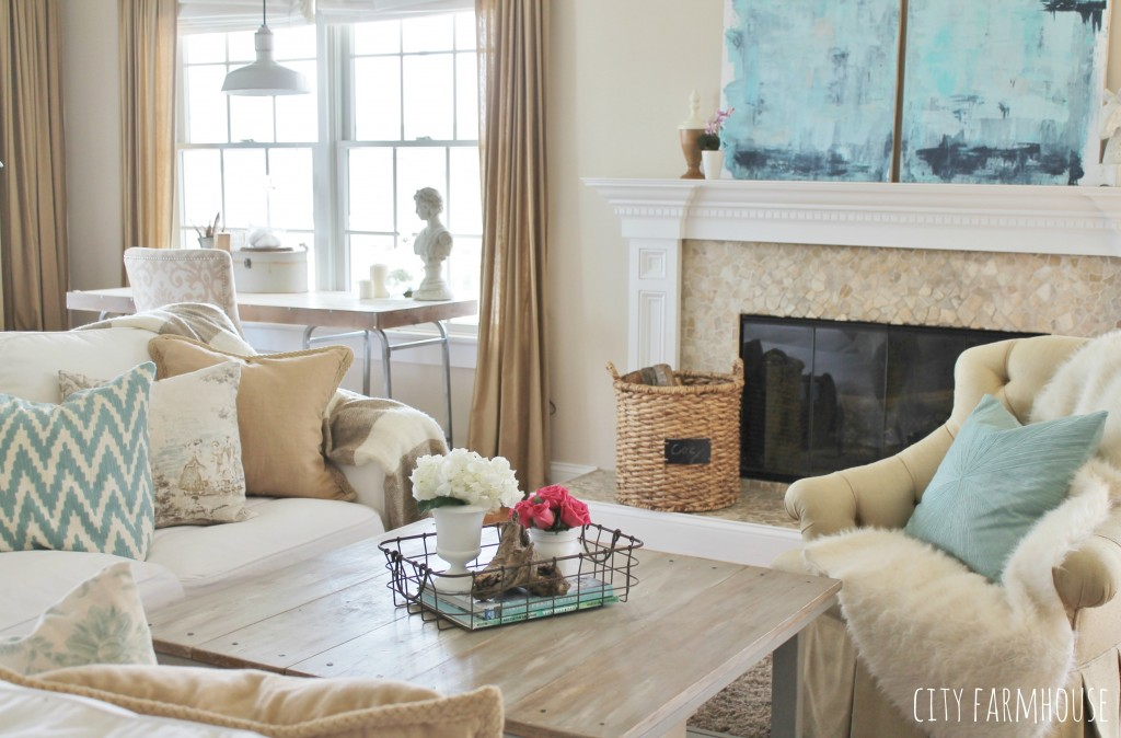DIY Abstract Art-Mixing Rustic, Coastal & Modern Styles In The Family Room{City Farmhouse}