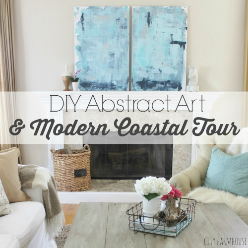 DIY Abstract Art & Modern Coastal Family Room Tour
