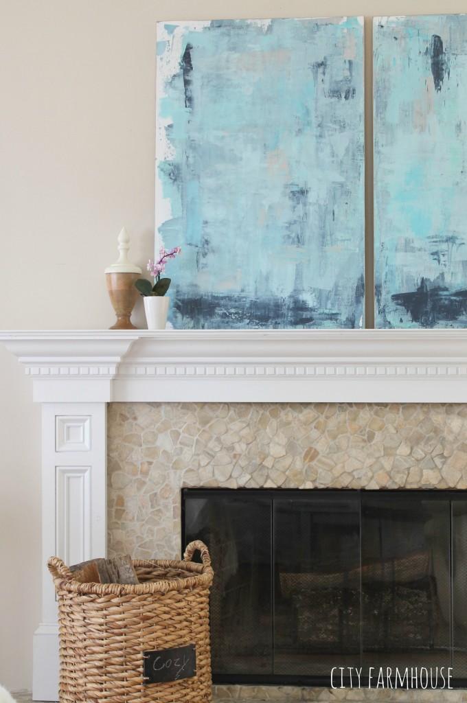DIY Abstract Art-Perfect for Coastal Decor {City Farmhouse}