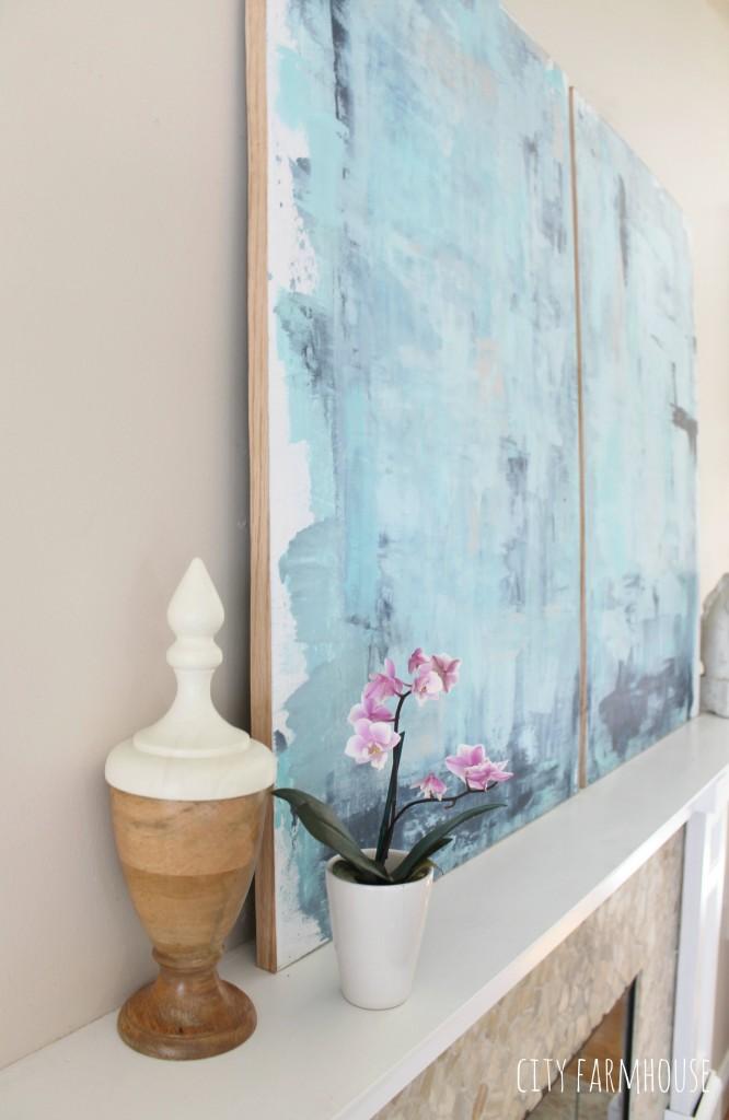 DIY Abstract Art -Using Soft Blue Tones to Create A Coastal Feel & Focal Point {City Farmhouse}