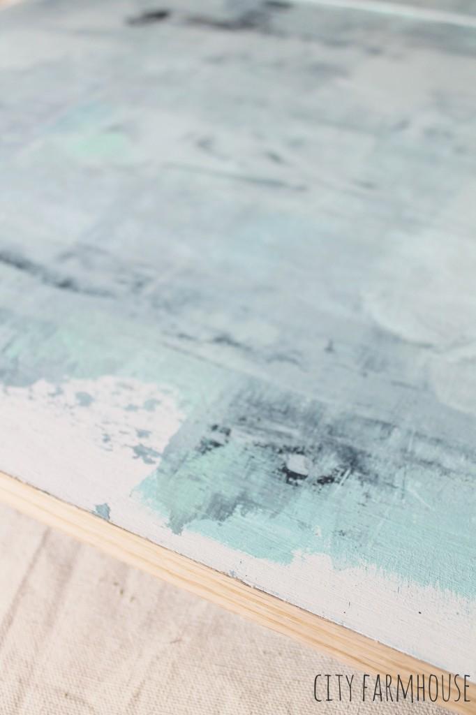 DIY Abstract Art -finish the edges with glueable veneer {City Farmhouse}