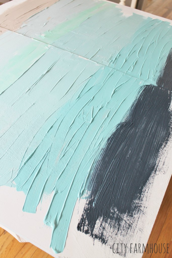 Diy abstract art a coastal look for under 30 city farmhouse for How to make canvas painting