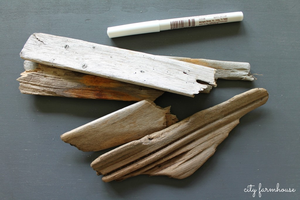 DIY Driftwood Garden Labels- Use white craft pen {City Farmhouse}