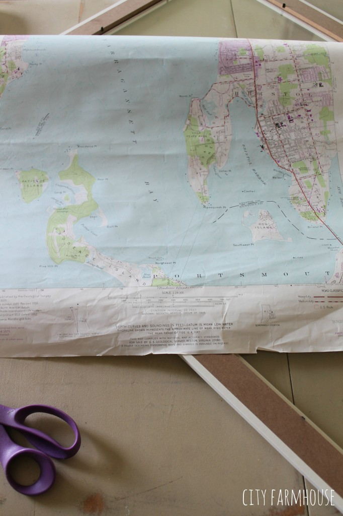 DIY Map-Begin with a map, measaure & cut to fit frame