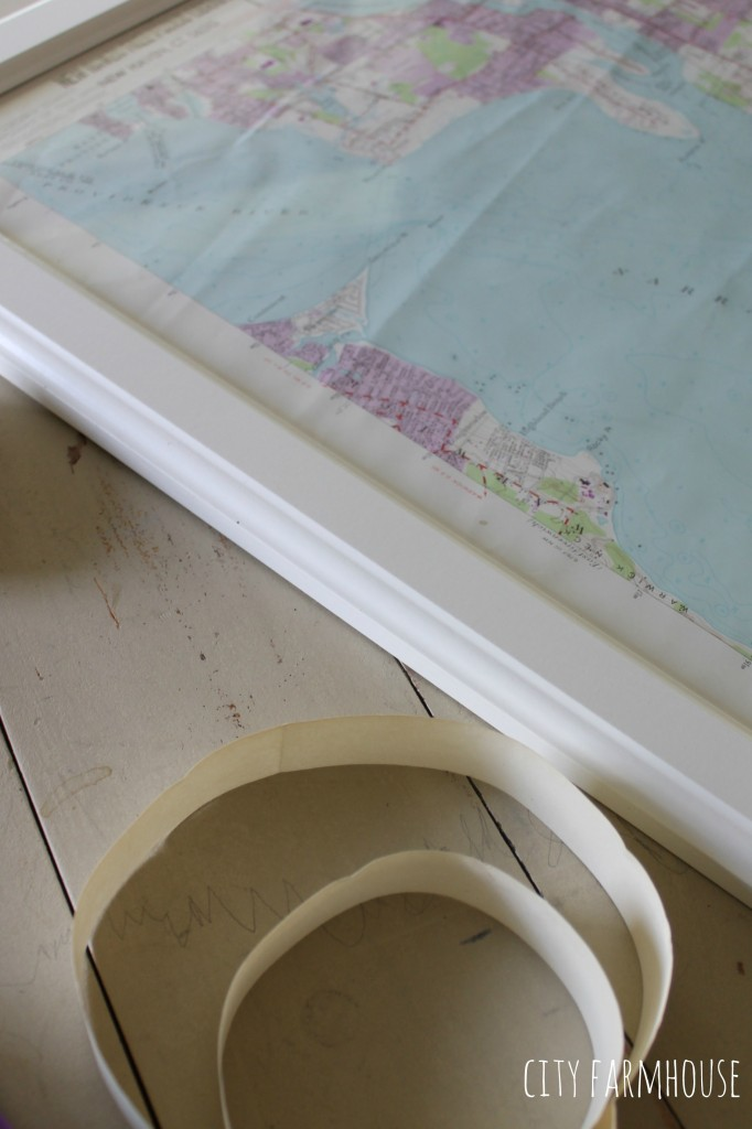 DIY Map-Begin with a map, trim to fit frame & pop it in-viola, coastal art in 10 minutes {City Farmhouse}