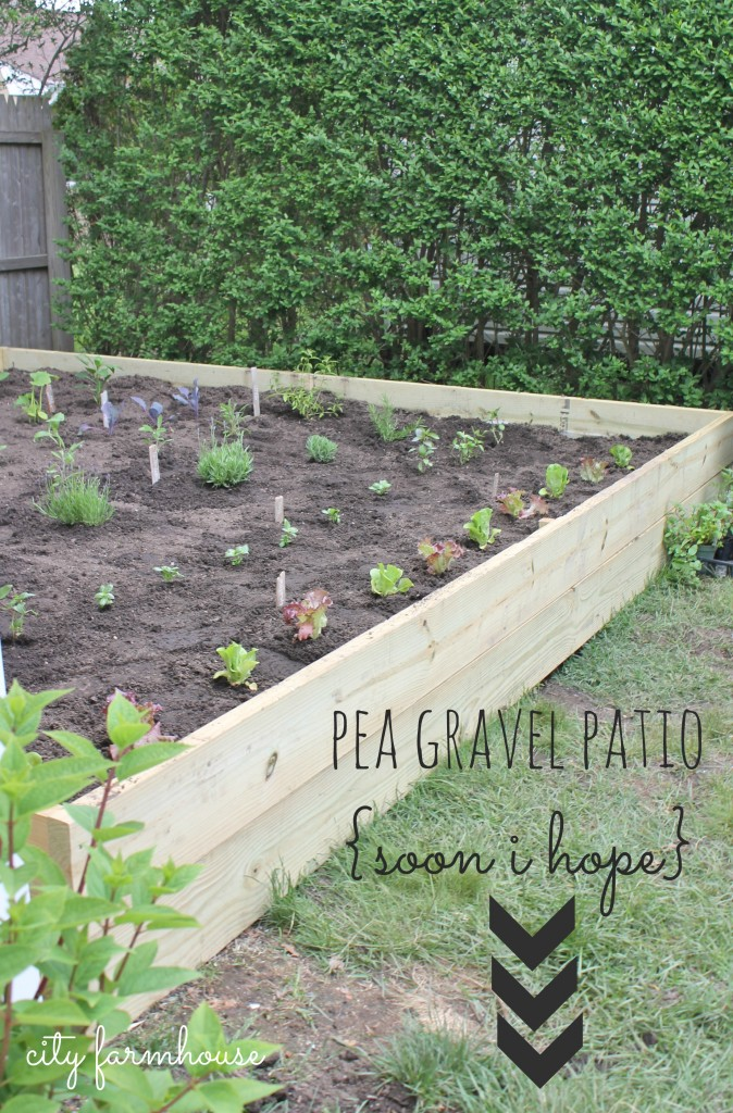 DIY Vegetable & Herb Gardeb in 3 easy steps & future pea gravel patio {City Farmhouse}
