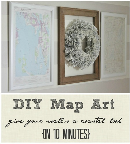 DIY Map Art-Give Your Walls A Coastal Look in 10 Minutes