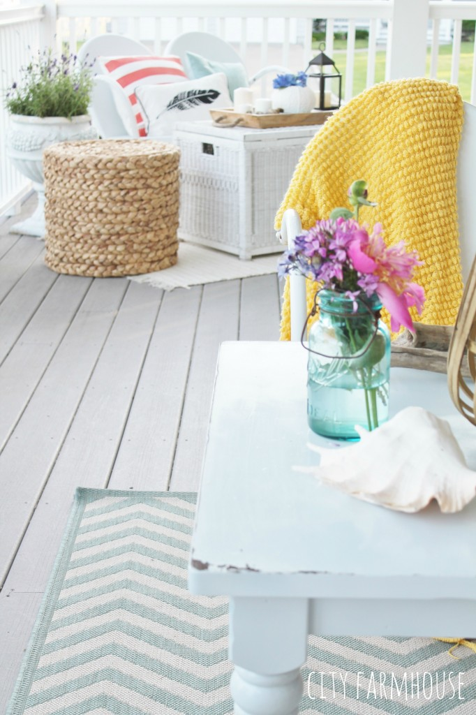 Summer Farmhouse Front Porch-Bright touches with lots of whites