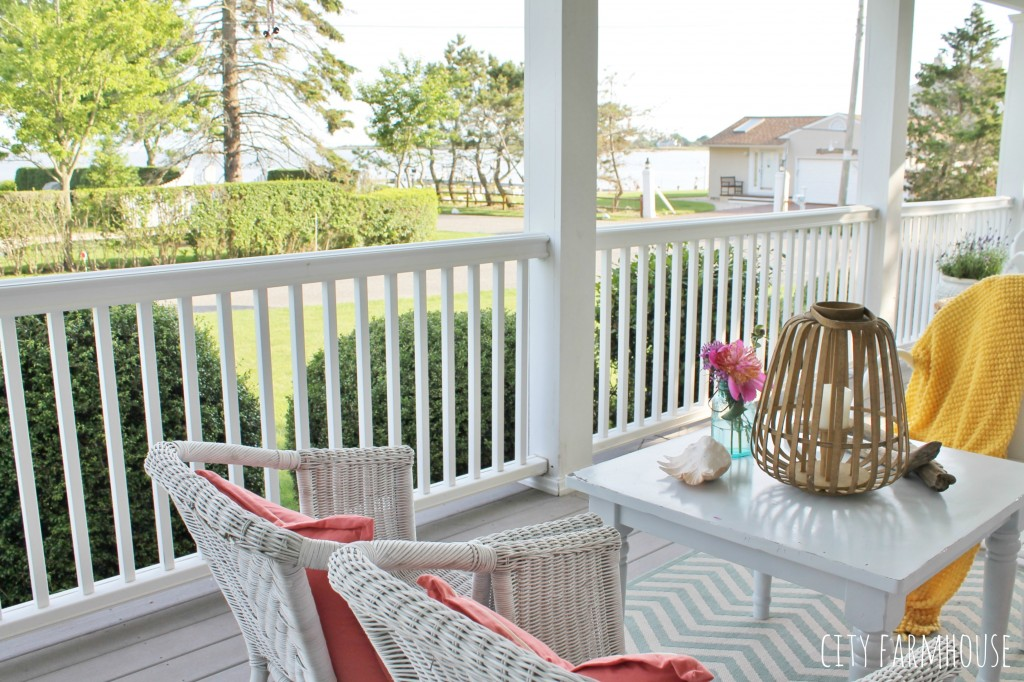 Summer Tour- Farmhouse Front Porch overlooking the bay {bright coastal touches}