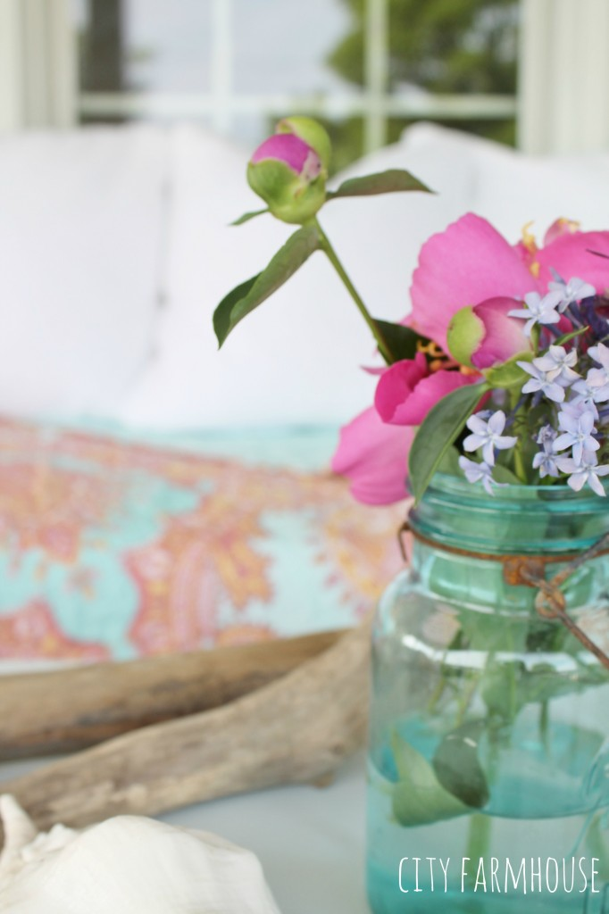 Summer Tour-Fresh Flowers in vintage mason jar