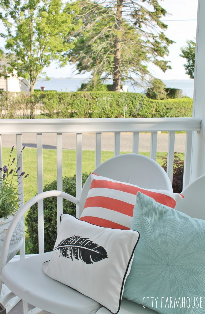 Summer Tour-Front Porch {bright colored pillows}