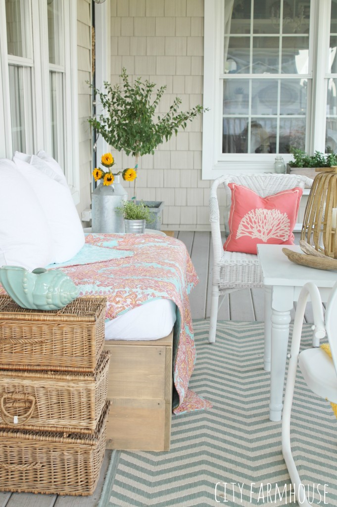Summer Tour-Vintage baskets stacked make a great side table