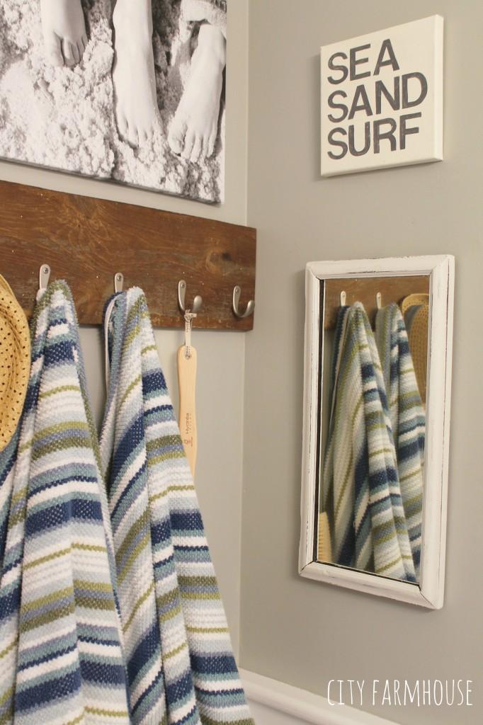 Bathroom Makeover-Boys Preppy Coastal Chic Bathroom-Vintage Mirror & DIY Art {Walls Valspar-Rope}