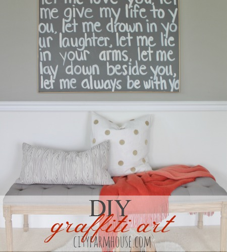 DIY Graffiti Art Using Wedding Song Lyrics {a gift to my husband}