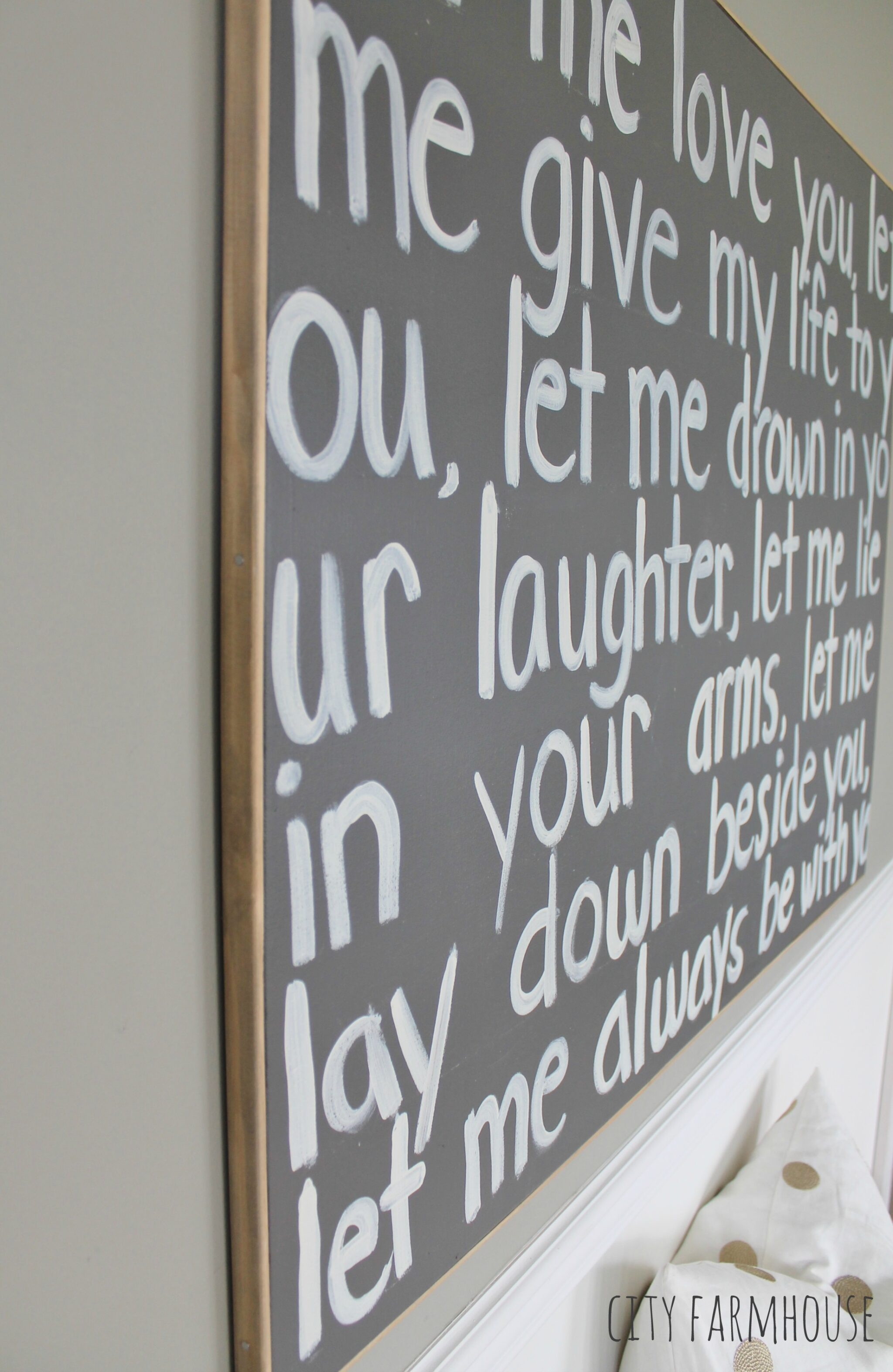 Diy Graffiti Art Using Wedding Song Lyrics A Gift To My