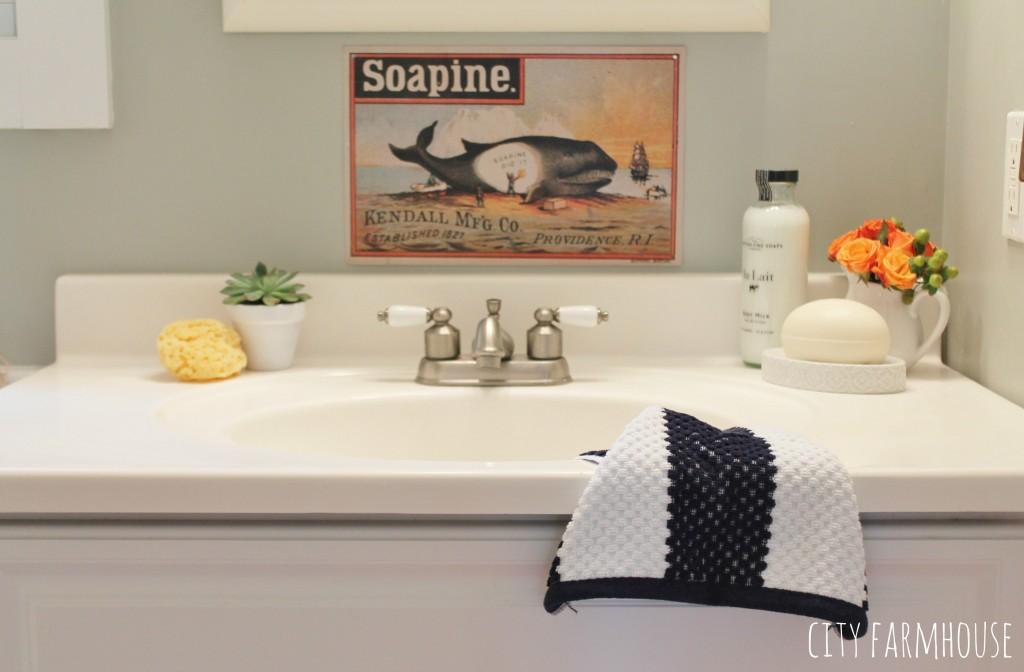Preppy Coastal Bathroom Makeover