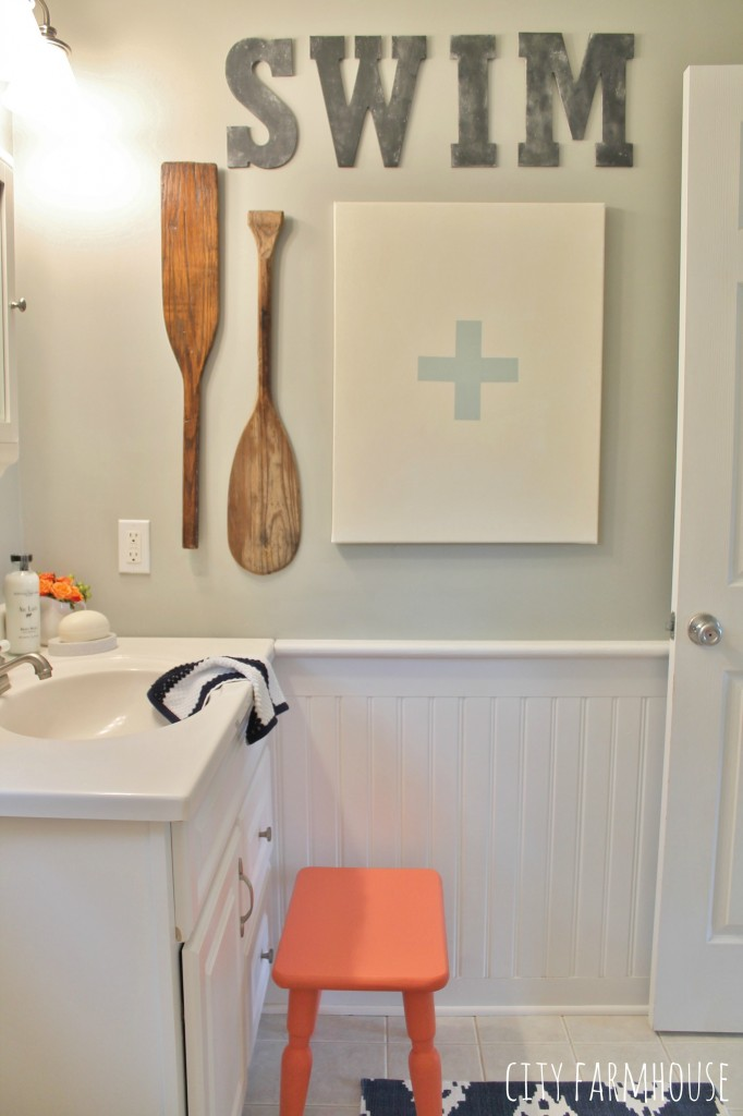 Preppy Coastal Bathroom Reveal City Farmhouse