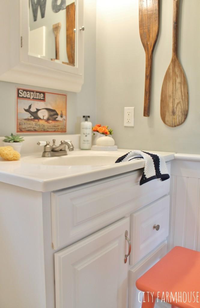 Preppy Coastal Bathroom Makeover-bench SW Ardent Coral