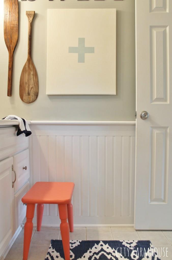 Preppy Coastal Bathroom Reveal- Wall Color Valspar-Rope {Lowe's}