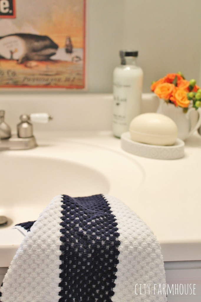 Preppy Coastal Bathroom Reveal- touches of Navy & Coral
