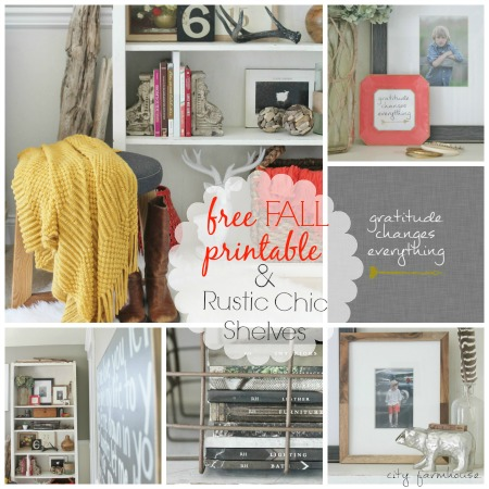 Rustic Chic Fall Bookcase & Free Printable