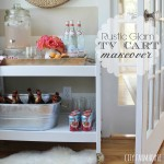 Rustic Glam TV Cart Makeover Into A Bar Cart