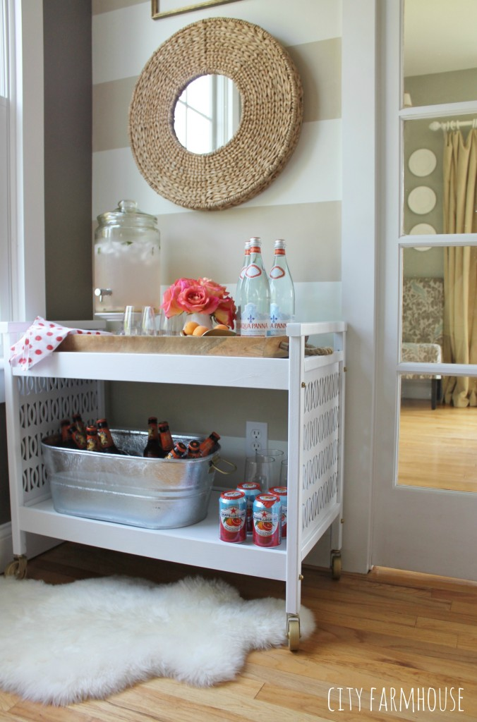Rustic Glam Mid Century Modern TV Cart Makeover-Blending Colors & Textures