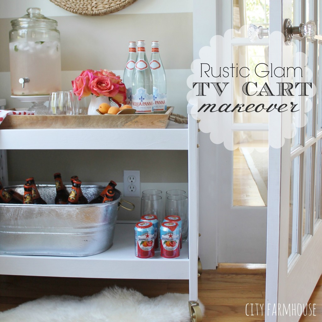 Rustic Glam Tv Cart Makeover Into A Bar Cart City Farmhouse