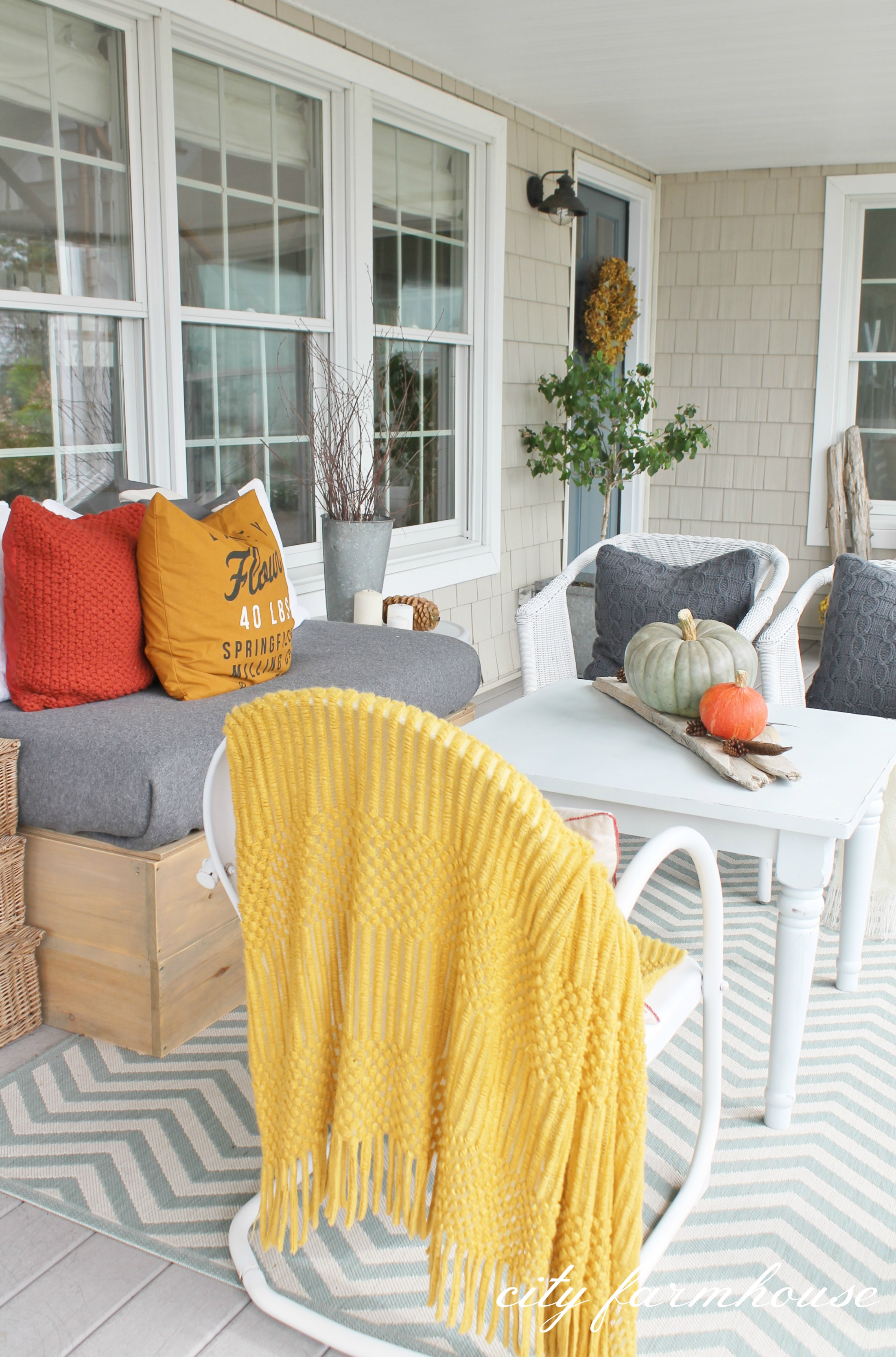 Rustic Fall Front Porch City Farmhouse