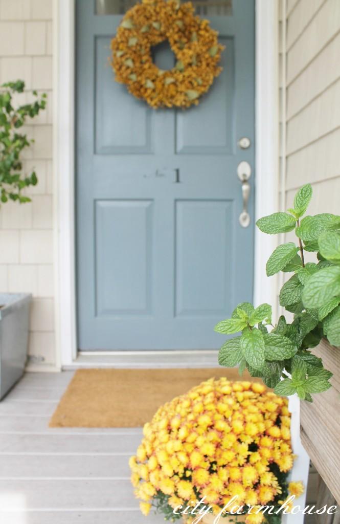 Fall Front Door- Benjamin Moore Charlotte Slate